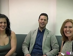 Nuria and Montse'_s threesome on touching Julian'_s cock