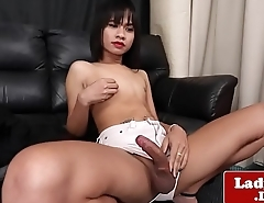 Thai ladyboy tugging herself while teasing