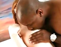 RedHead teen chokes on black guy'_s Dick!