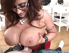 Hugetits MILF tugging dick with her boobs