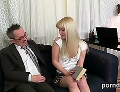 Cuddly college girl gets teased and drilled by her elder teacher