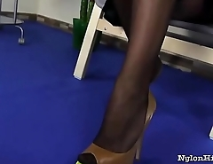 Solo Black Hair Lady surrounding Sexy Nylons