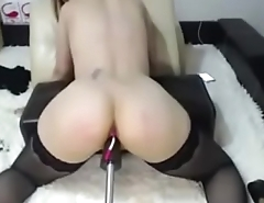 Sexy romanian camgirl in Stockings fucking machine and spanking - analcams.tv