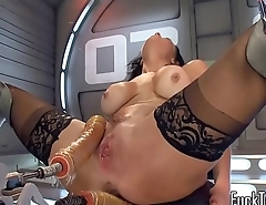 Anal toying ebony babe squirts dildo fucking