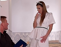 Lucky fucka gets a Double blowjob by his wife &amp_ a maid!