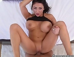 Hugetitted babe bouncing on cock POV style