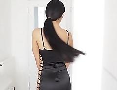 shiny satin dress latex