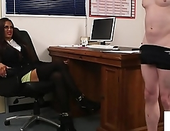 British office babe humiliating sub guy