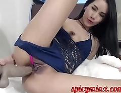 Teen Plays Masturbates up a Huge Dildo