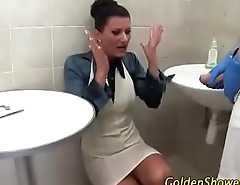 Unexpected Piss on dress in bothroom