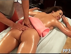 Gratifying babe with oil massage