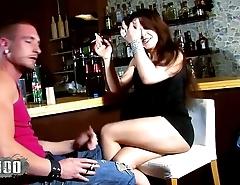 Hot french slut Shannya Tweeks banged by 2 spanish guys in a bar