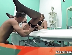 Cleaning lady relating to stockings bangs doctor