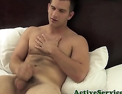 Military hunk jerking off with passion