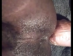 Black hairy ass here heavy homemade toy!
