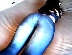 tight blue denim leggings