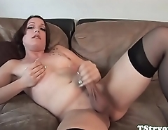 Auditioning tranny sucks dick and wanks off