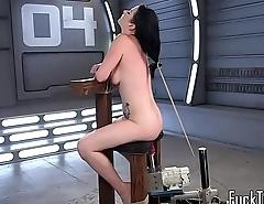 BDSM machine babe gets her pussy drilled