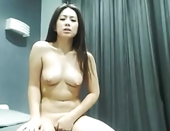 Asian angel plays tiny shaved pussy