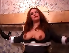 big tits redhead bound before obtaining her tits teased