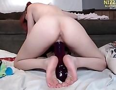 Italian Amateur Girl riding Giant dildo