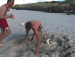 Hot guys play Football on beach (no sex)