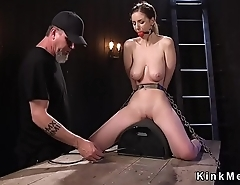 Huge naturals sub rides Sybian in bondage