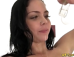 Gorgeous Slut Covers Her Body With Piss