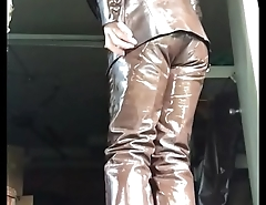 Me masturbating inside my super tight ultra shiny leather pants