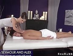 Oiled masseuse deep throat and fucks