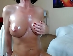 Milf brunette oil boobs