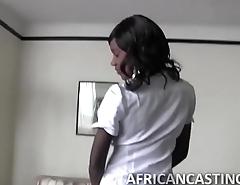 Ebony hottie gets banged from behind